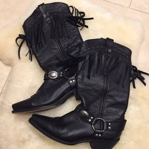 Laredo Black Leather Cowboy Boots Sz 8
